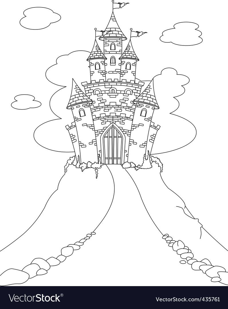 Magic castle coloring page vector | Price: 1 Credit (USD $1)