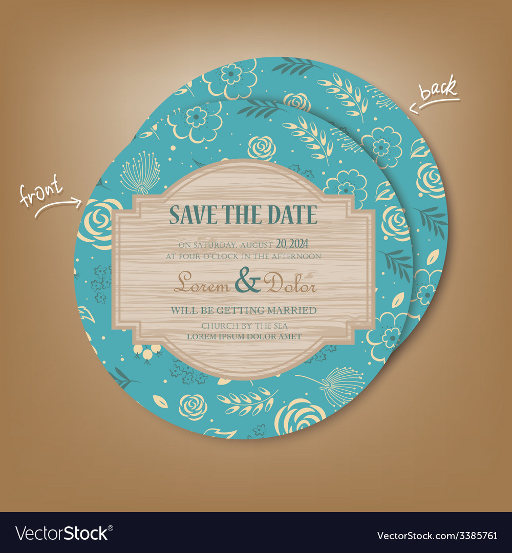 Save the date round vector | Price: 1 Credit (USD $1)