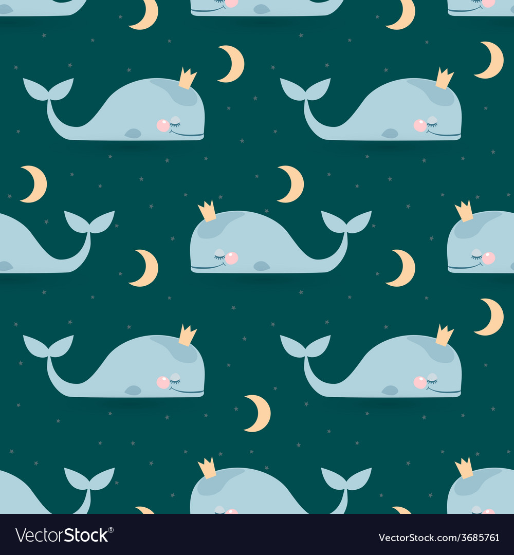Seamless pattern with sleeping whales moon stars vector | Price: 1 Credit (USD $1)
