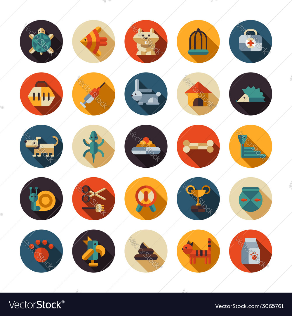 Set of flat design pet shop icons vector | Price: 1 Credit (USD $1)