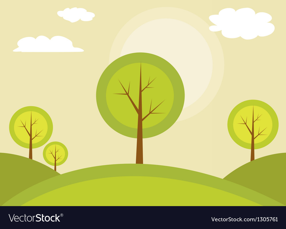 Trees on a hill vector | Price: 1 Credit (USD $1)