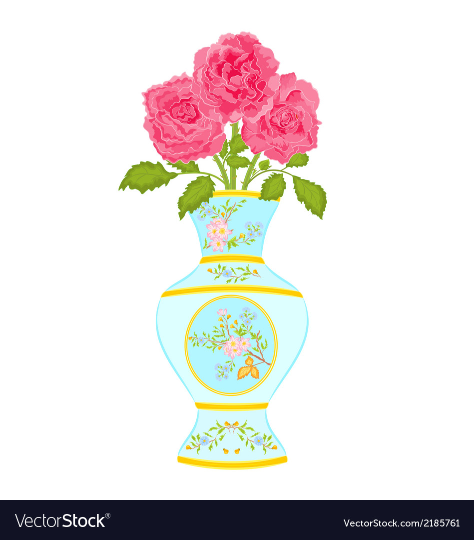 Vase decorated with a floral pattern with roses vector | Price: 1 Credit (USD $1)