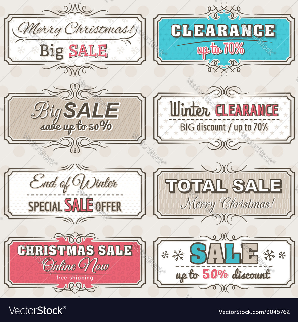 Christmas banners with sale offer vector | Price: 1 Credit (USD $1)