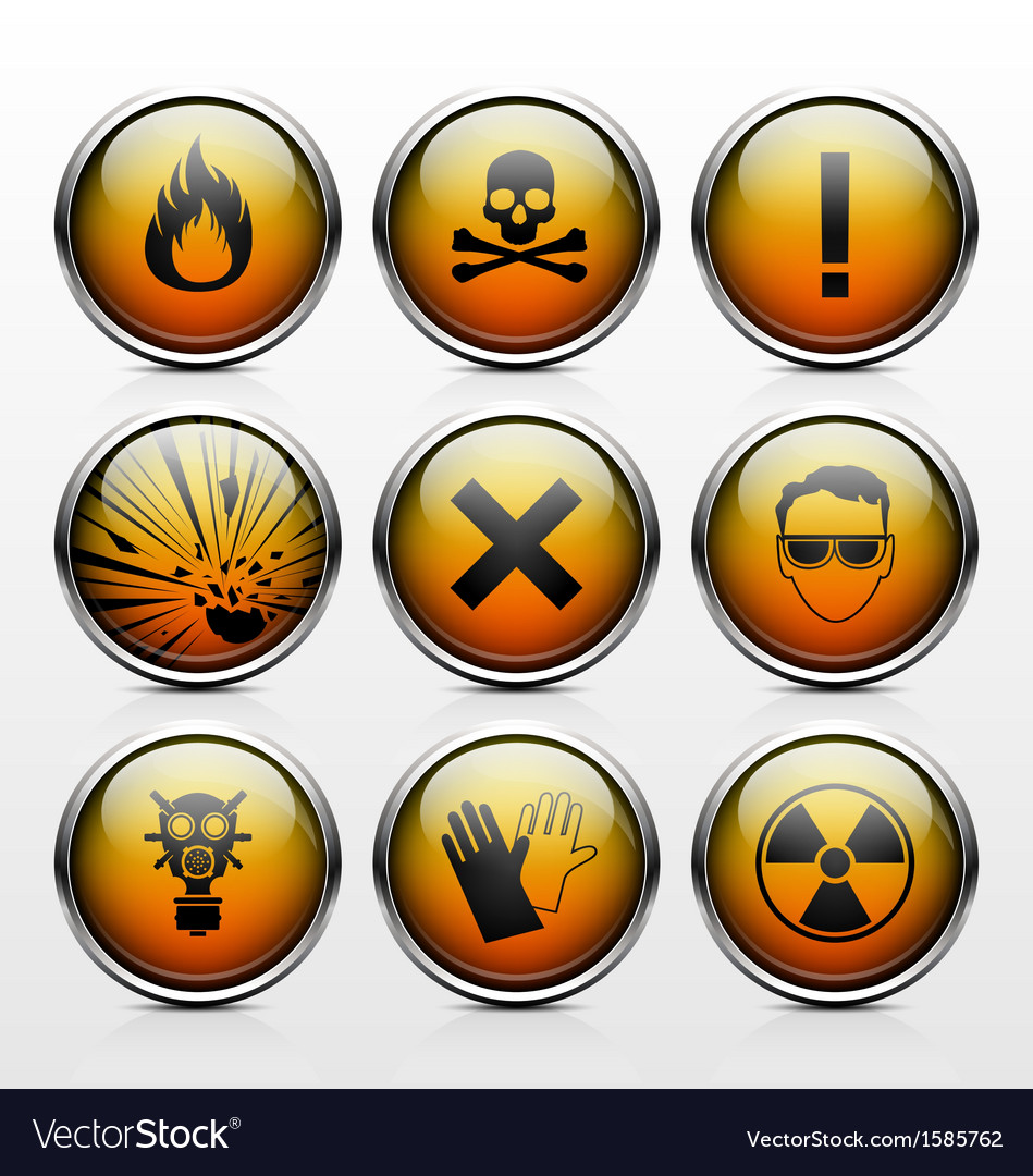 Icons with signs warning of the dangers vector | Price: 1 Credit (USD $1)