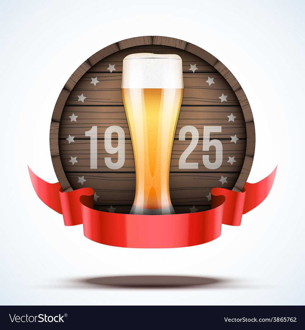 Label beer barrel keg with beer glass and ribbon vector | Price: 3 Credit (USD $3)