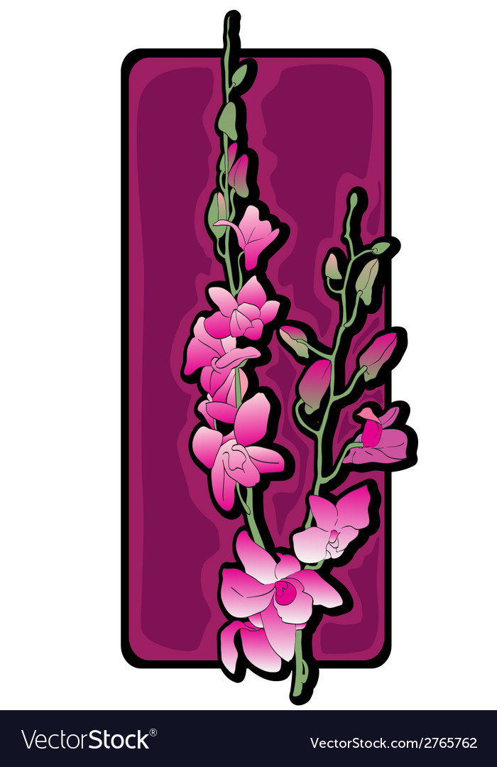 Long orchids clip art purple vector | Price: 1 Credit (USD $1)