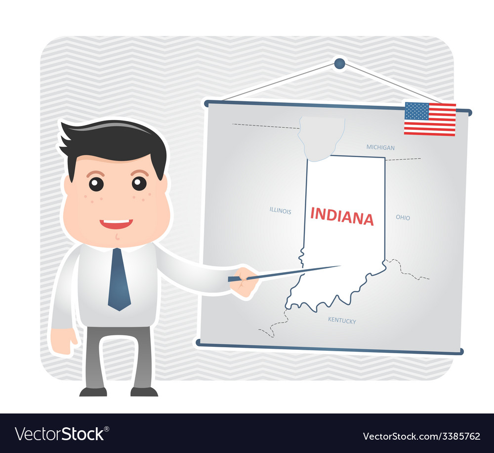 Man with a pointer points to a map of indiana vector | Price: 1 Credit (USD $1)