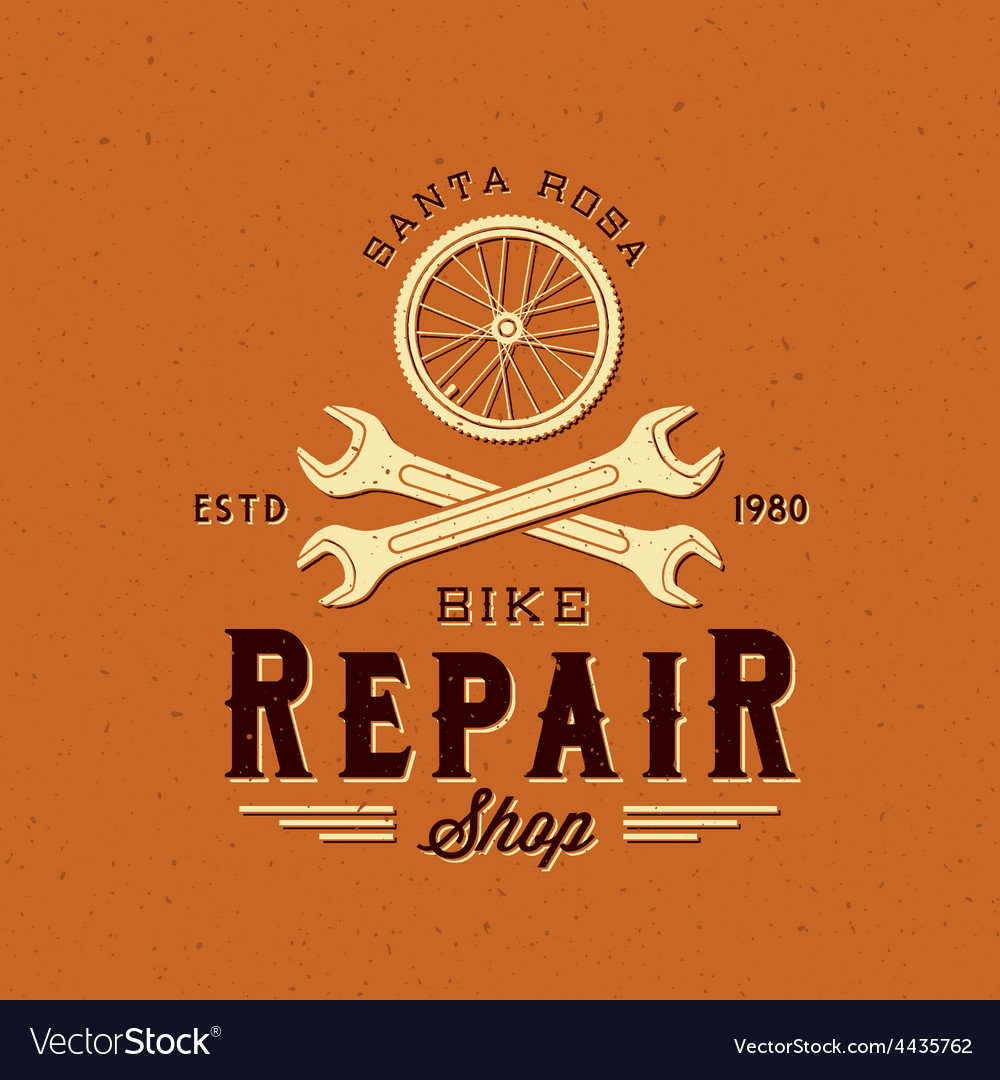 Retro bycicle repair label or logo template vector | Price: 1 Credit (USD $1)