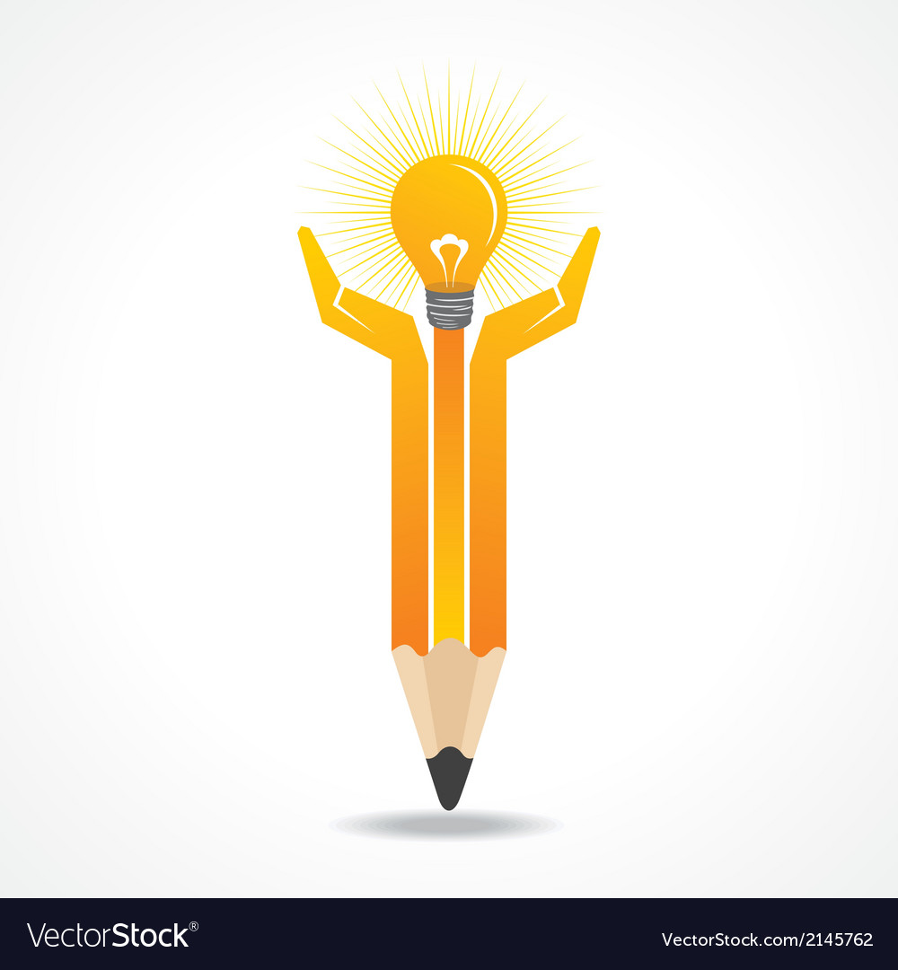 Save energy concept with pencil hands vector | Price: 1 Credit (USD $1)