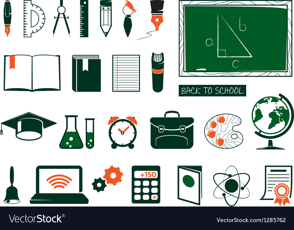 Set of school supplies vector | Price: 1 Credit (USD $1)