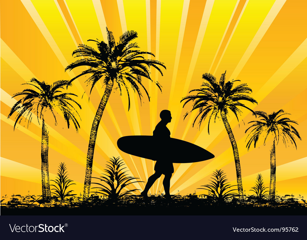 Tropical surfer vector | Price: 1 Credit (USD $1)