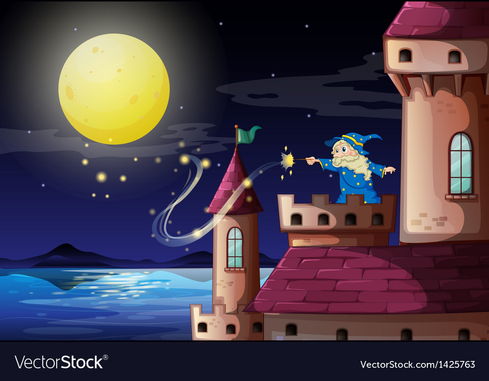 An old wizard at the castle port vector | Price: 1 Credit (USD $1)