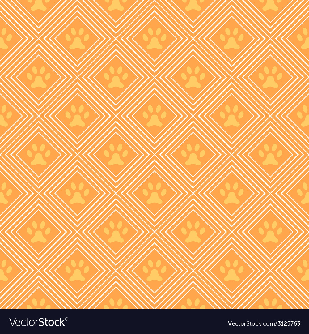 Animal seamless pattern of paw footprint and line vector | Price: 1 Credit (USD $1)