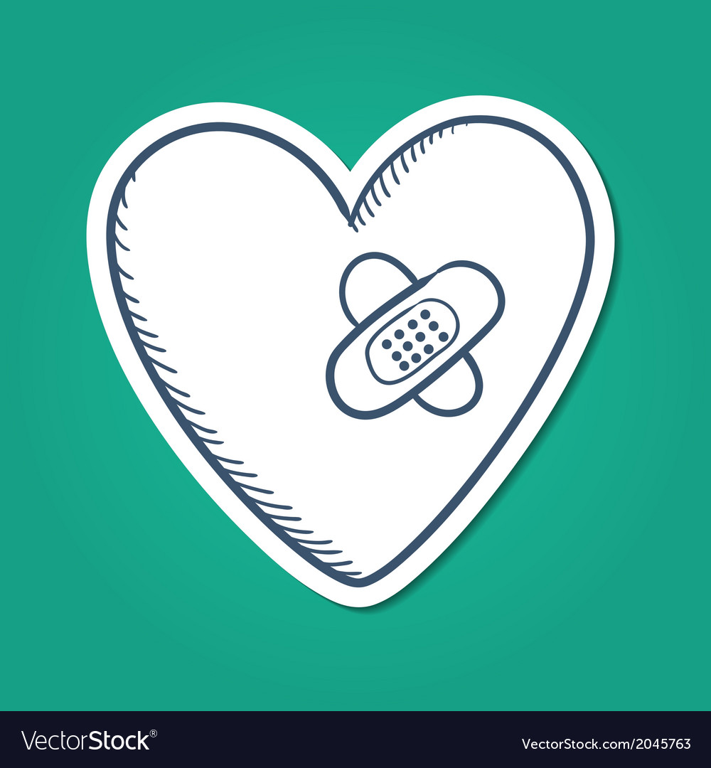 Heart repaired healed with patch vector | Price: 1 Credit (USD $1)