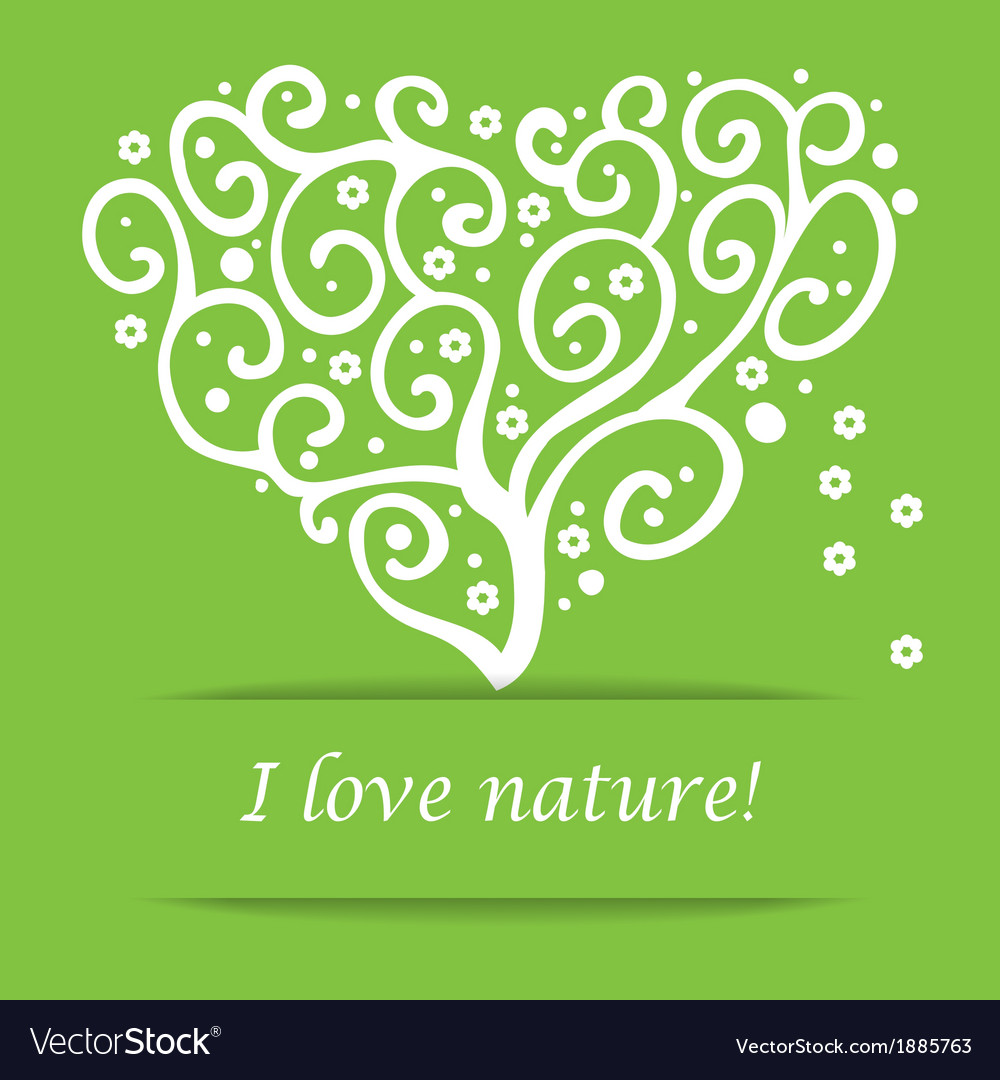 I love nature heart tree symbol vector | Price: 1 Credit (USD $1)