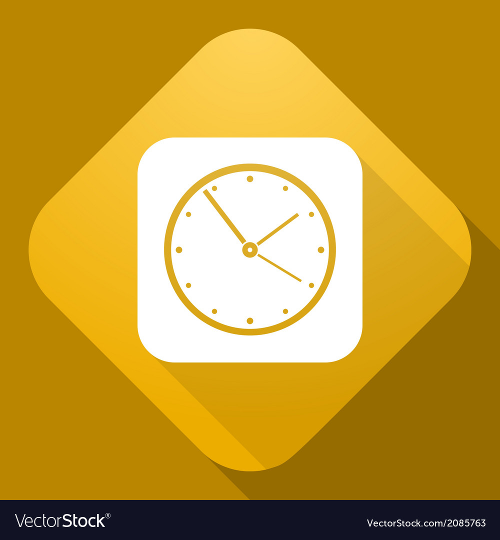 Icon of clock with a long shadow vector | Price: 1 Credit (USD $1)