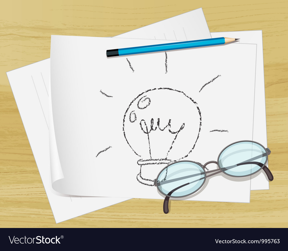 Lightbulb idea paper vector | Price: 1 Credit (USD $1)