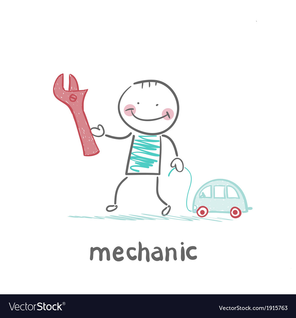 Mechanic holding a key and a little car vector