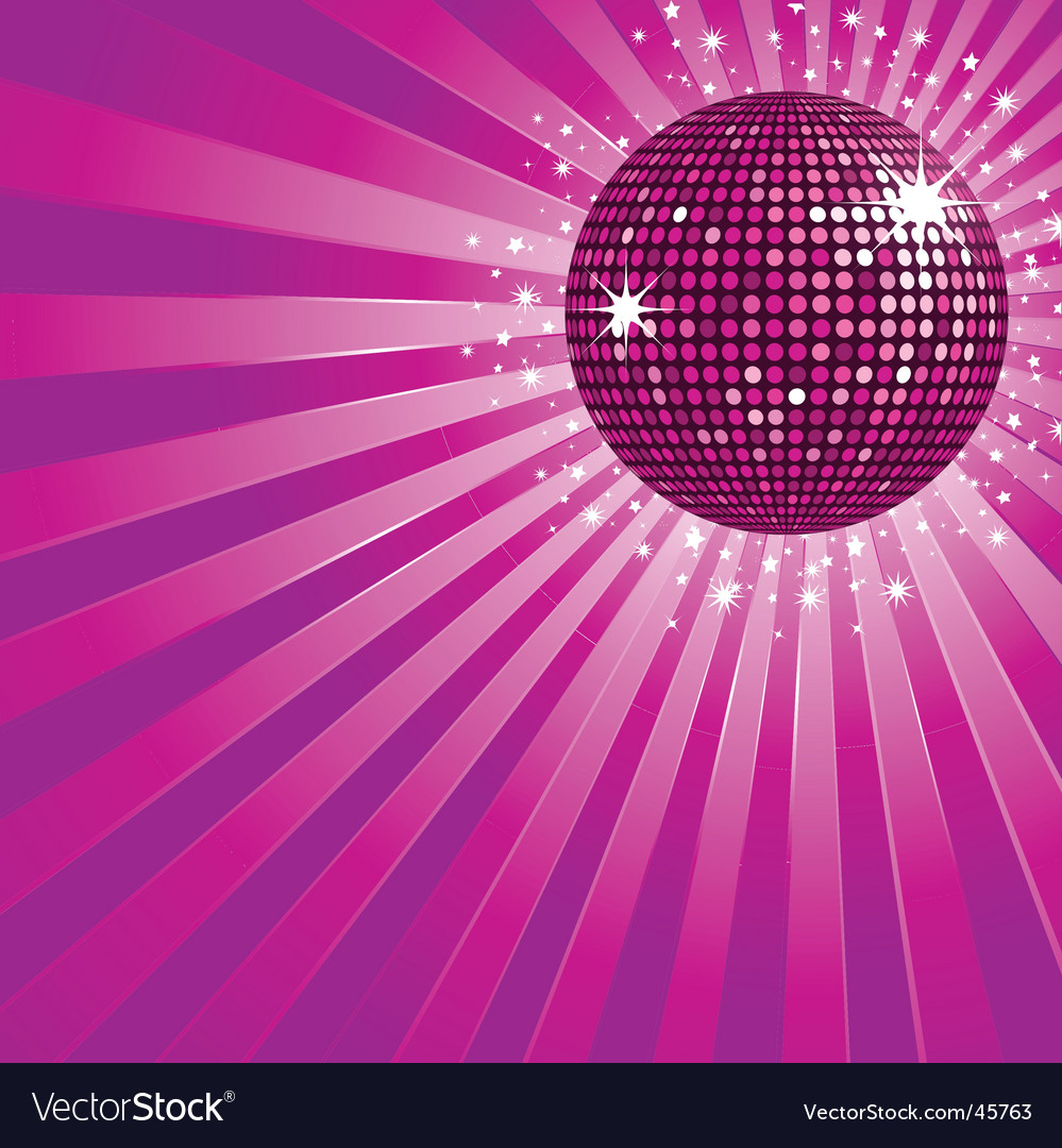 Purple disco ball and stars vector | Price: 1 Credit (USD $1)
