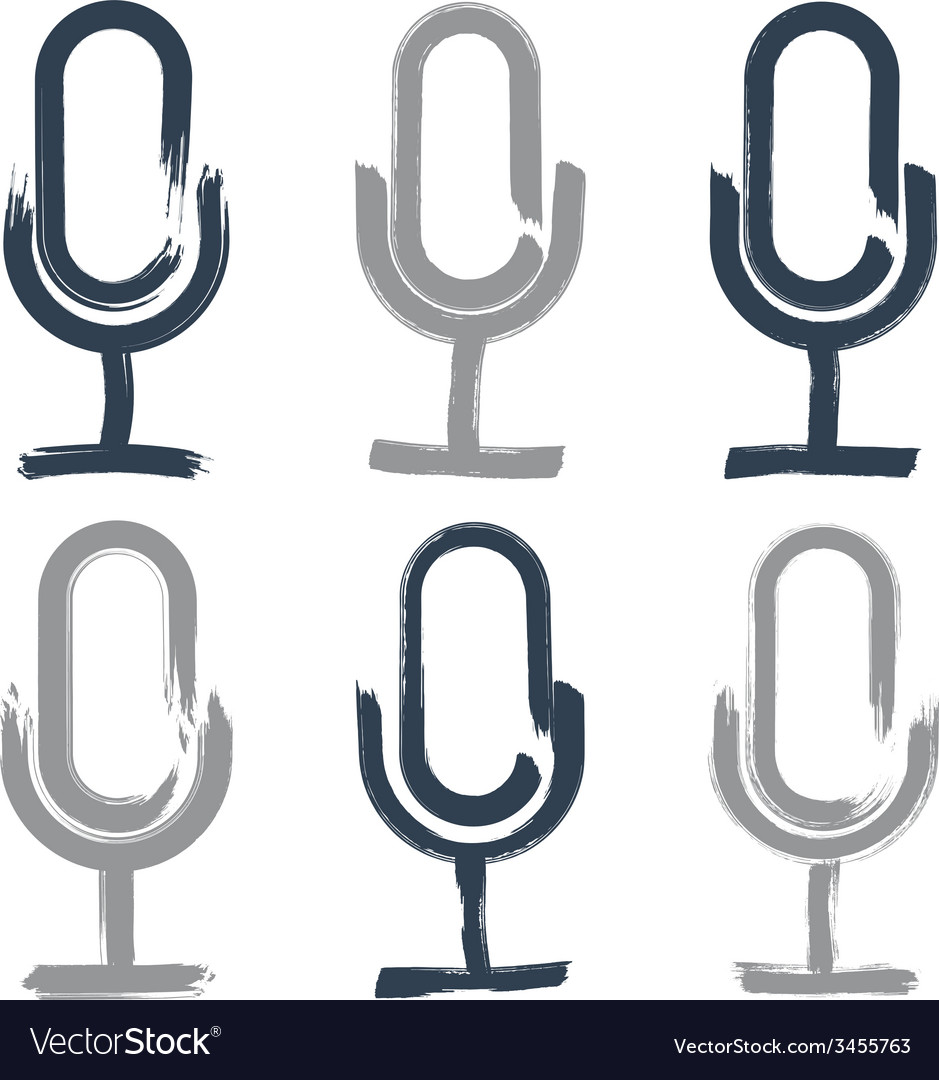 Set of hand-drawn microphone icons brush drawing vector | Price: 1 Credit (USD $1)