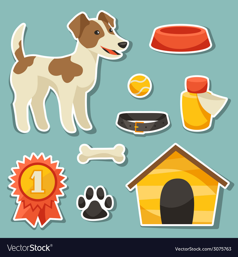 Set of sticker icons and objects with cute dog vector | Price: 1 Credit (USD $1)