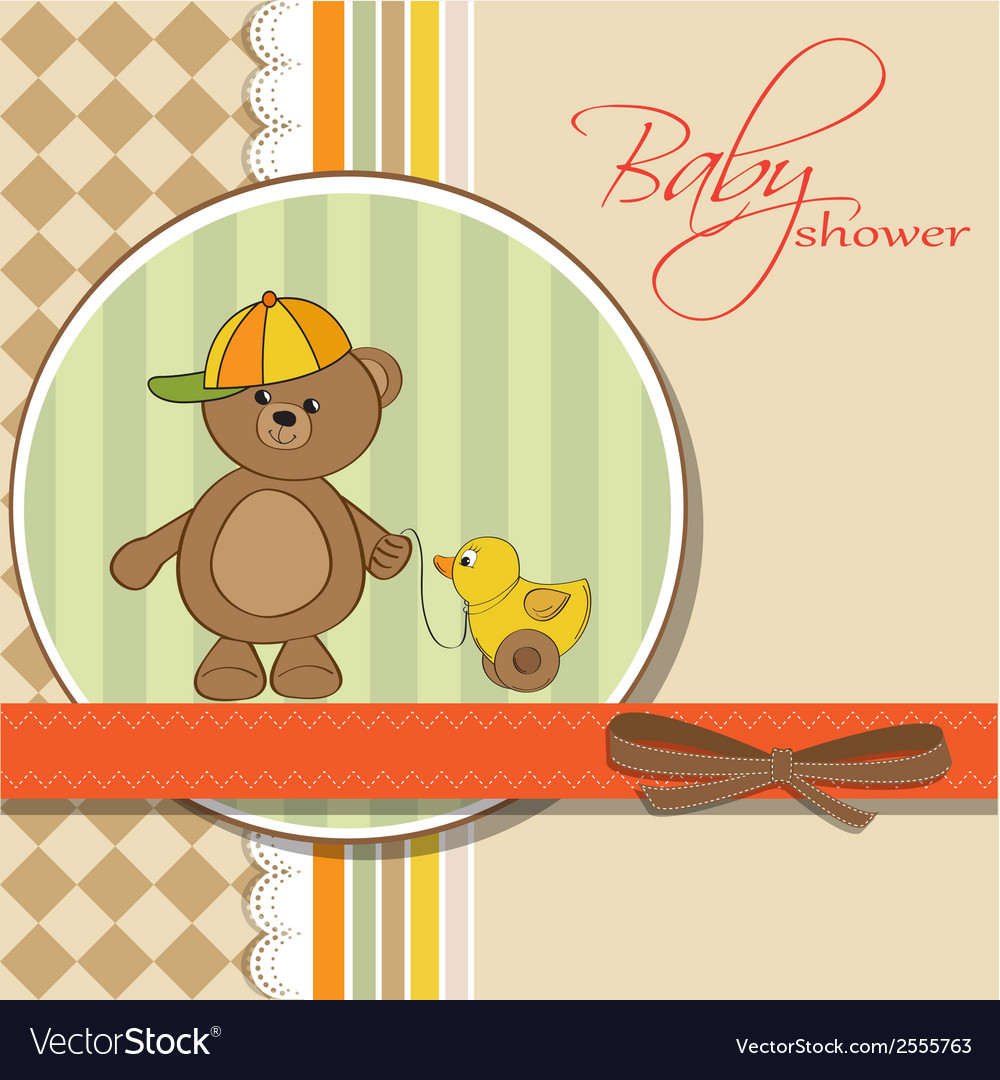 Welcome baby card with boy teddy bear and his duck vector | Price: 1 Credit (USD $1)