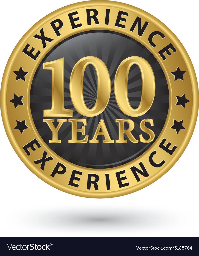 100 years experience gold label vector | Price: 1 Credit (USD $1)