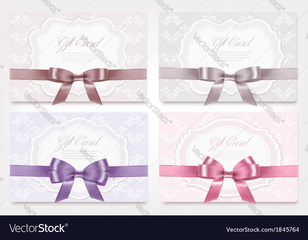 Collection of gift cards with ribbons background vector | Price: 1 Credit (USD $1)