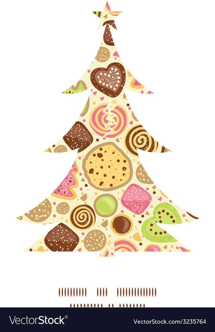 Colorful cookies christmas tree silhouette pattern vector | Price: 1 Credit (USD $1)