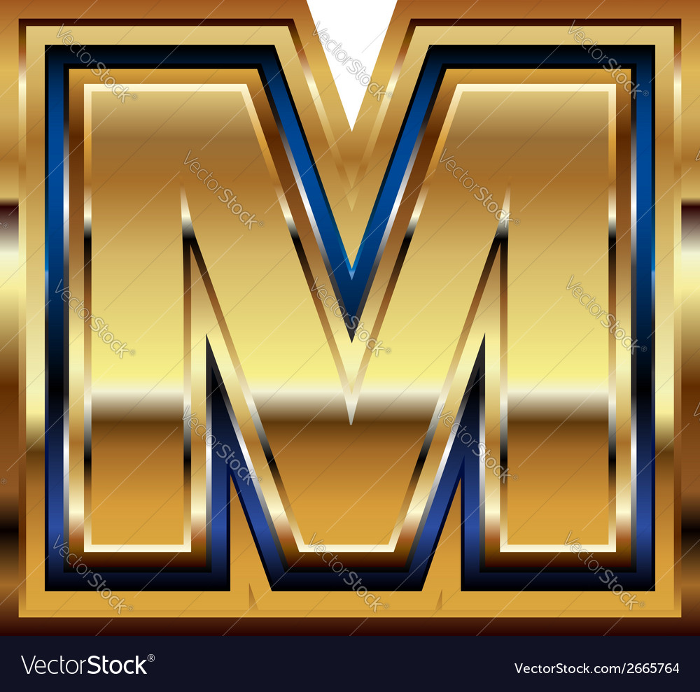 Golden font letter m vector | Price: 1 Credit (USD $1)