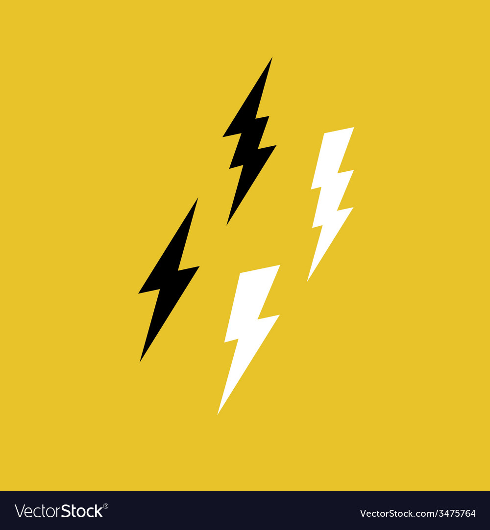 Lightning bolt icons on yellow vector | Price: 1 Credit (USD $1)