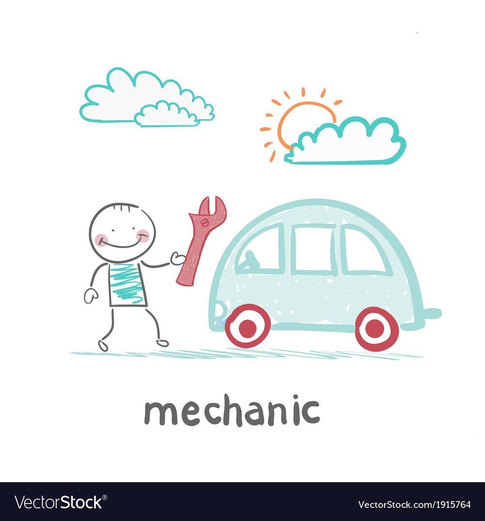 Mechanic holds the key and stands near the car vector | Price: 1 Credit (USD $1)