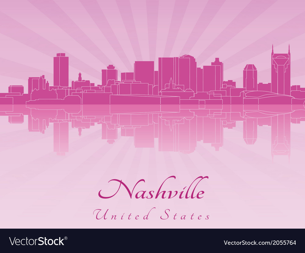 Nashville skyline in purple radiant orchid vector | Price: 1 Credit (USD $1)
