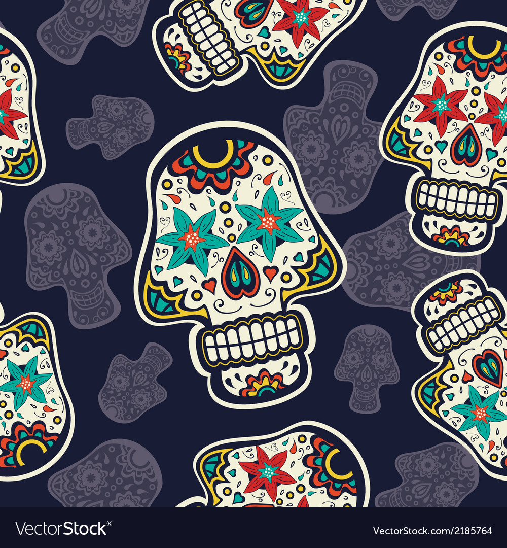 Pattern with sugar skulls vector | Price: 1 Credit (USD $1)