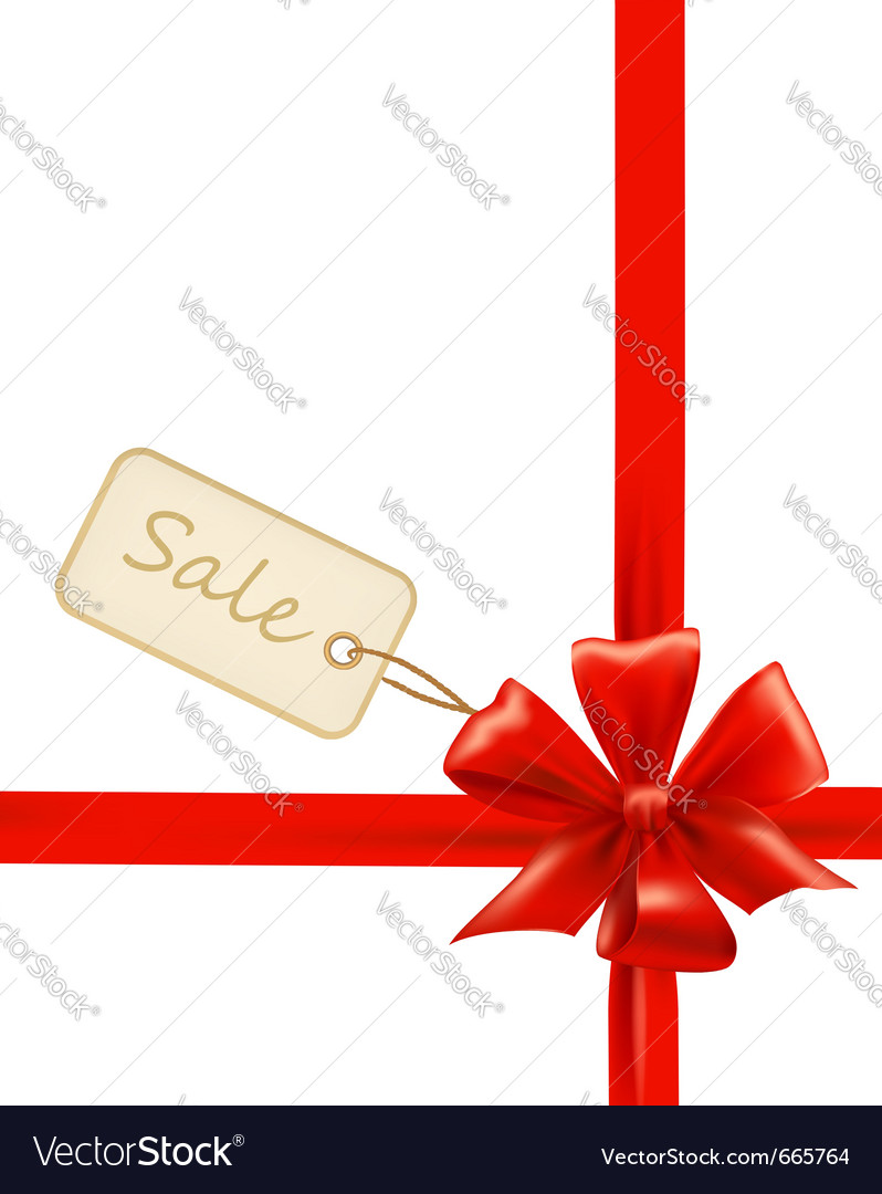 Red gift bows with ribbons and sale labels vector | Price: 1 Credit (USD $1)