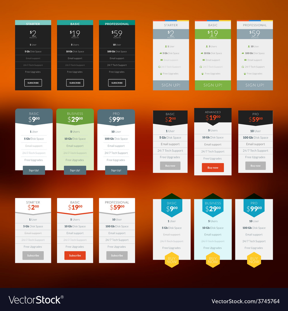 Set of pricing table in flat design style for vector | Price: 1 Credit (USD $1)