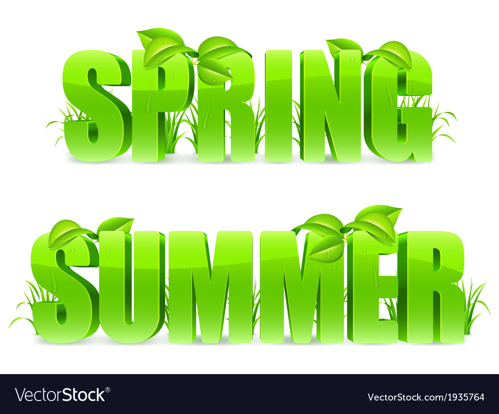 Spring and summer words vector | Price: 1 Credit (USD $1)