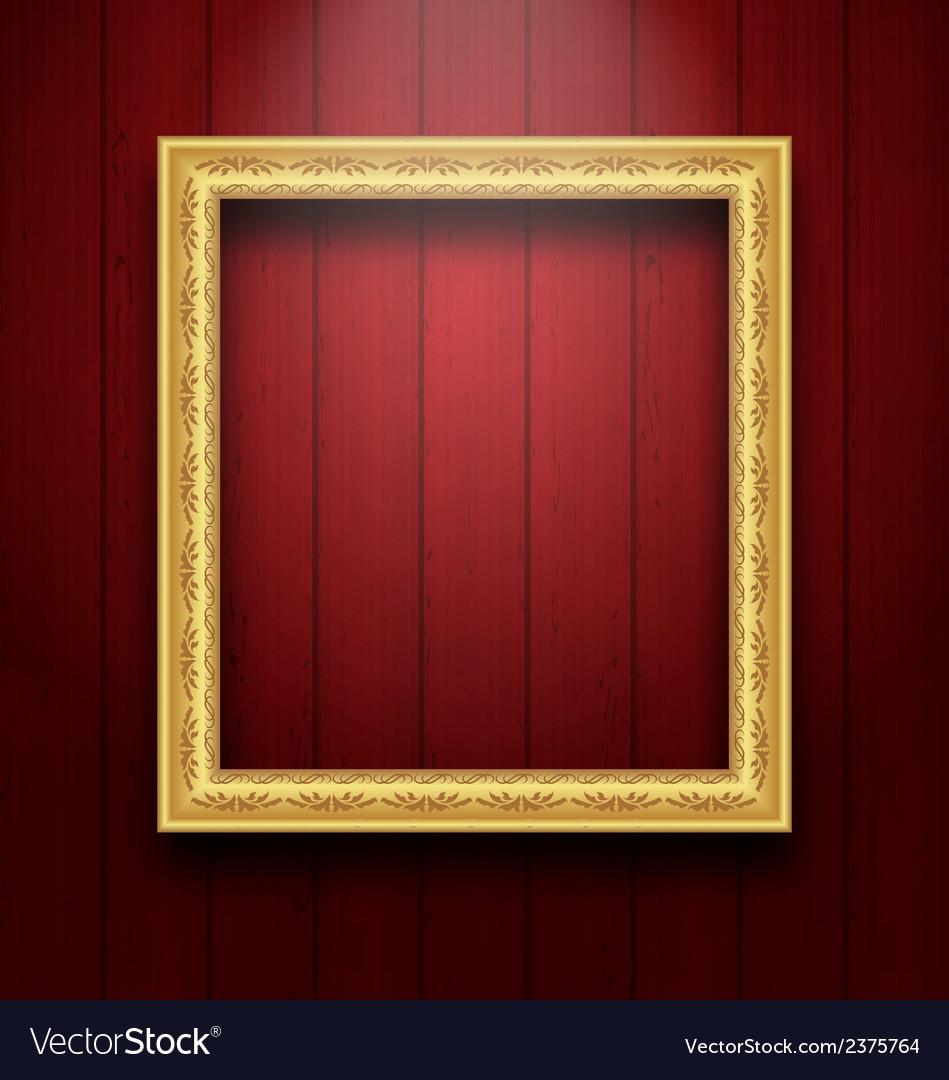 Vintage picture frame on wooden wall vector | Price: 1 Credit (USD $1)