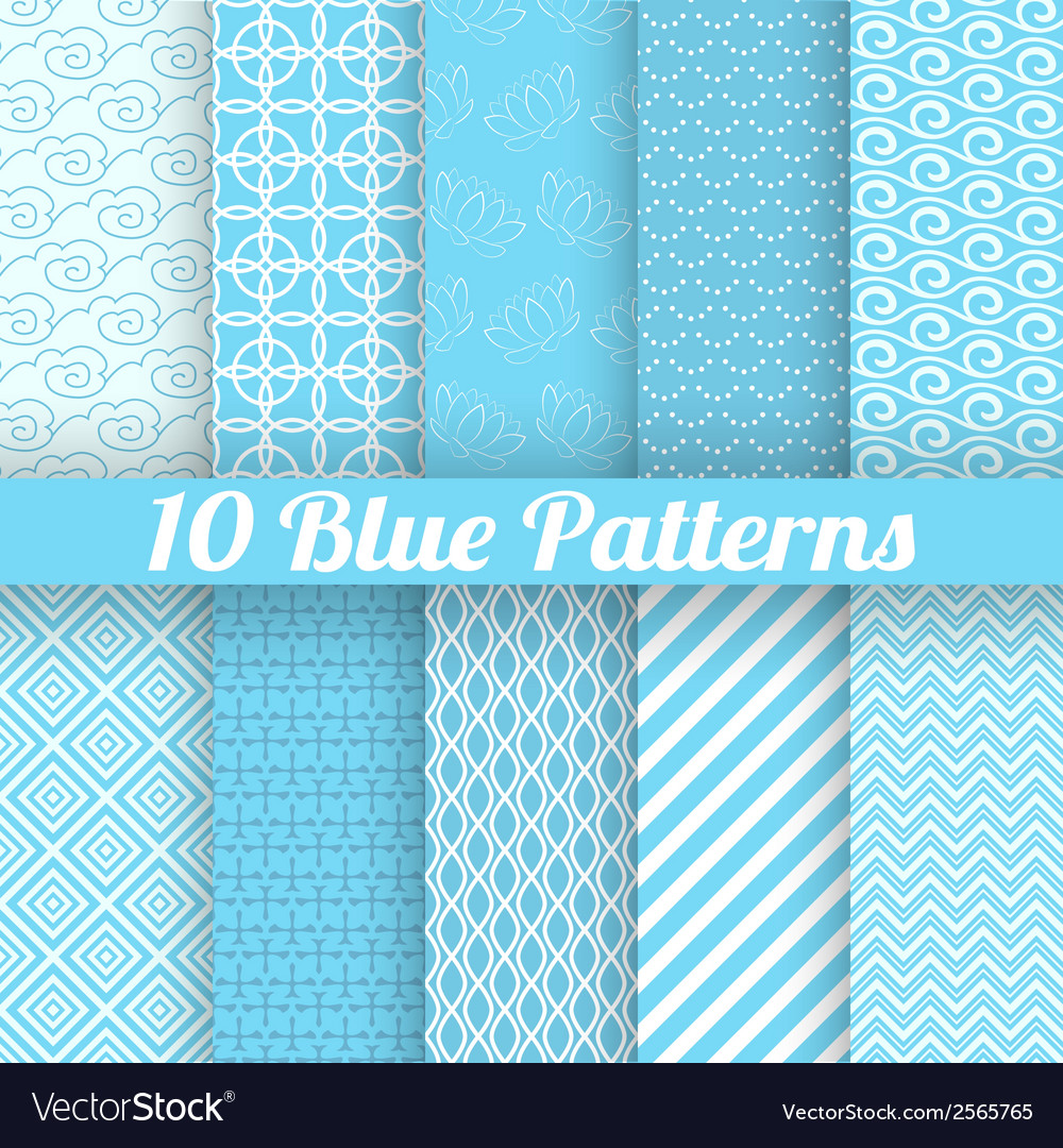 10 blue different seamless patterns tiling vector | Price: 1 Credit (USD $1)