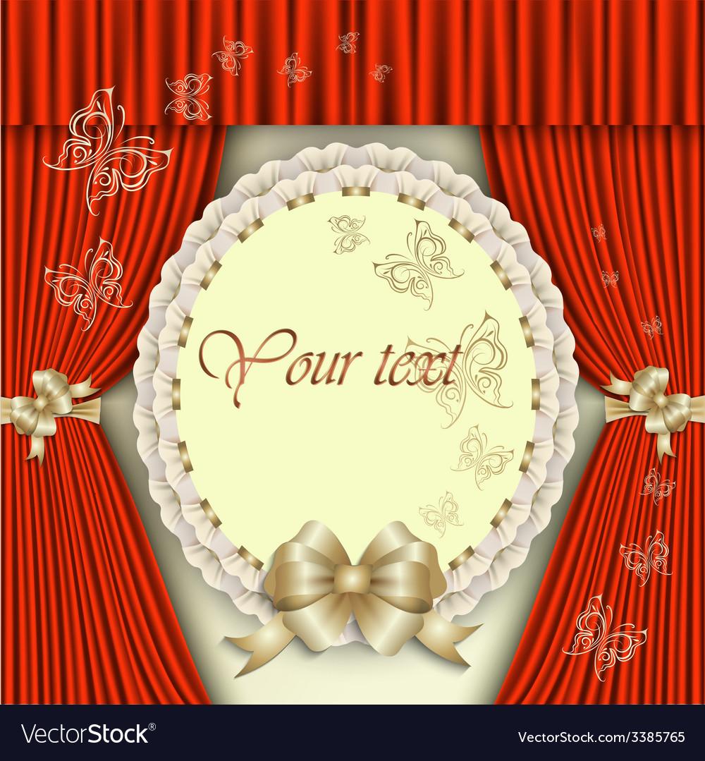 Elegant invitation with golden bow vector | Price: 1 Credit (USD $1)