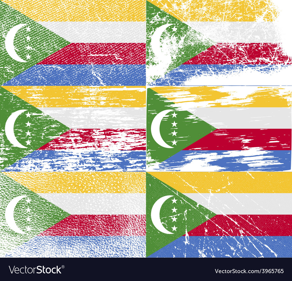 Flag of comoros with old texture vector   Price: 1 Credit (USD $1)
