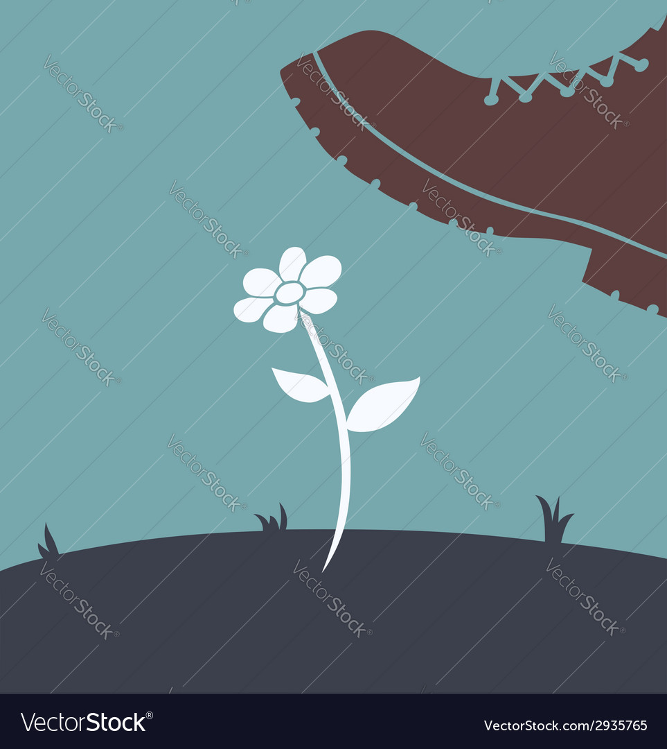 Foot over flower vector | Price: 1 Credit (USD $1)
