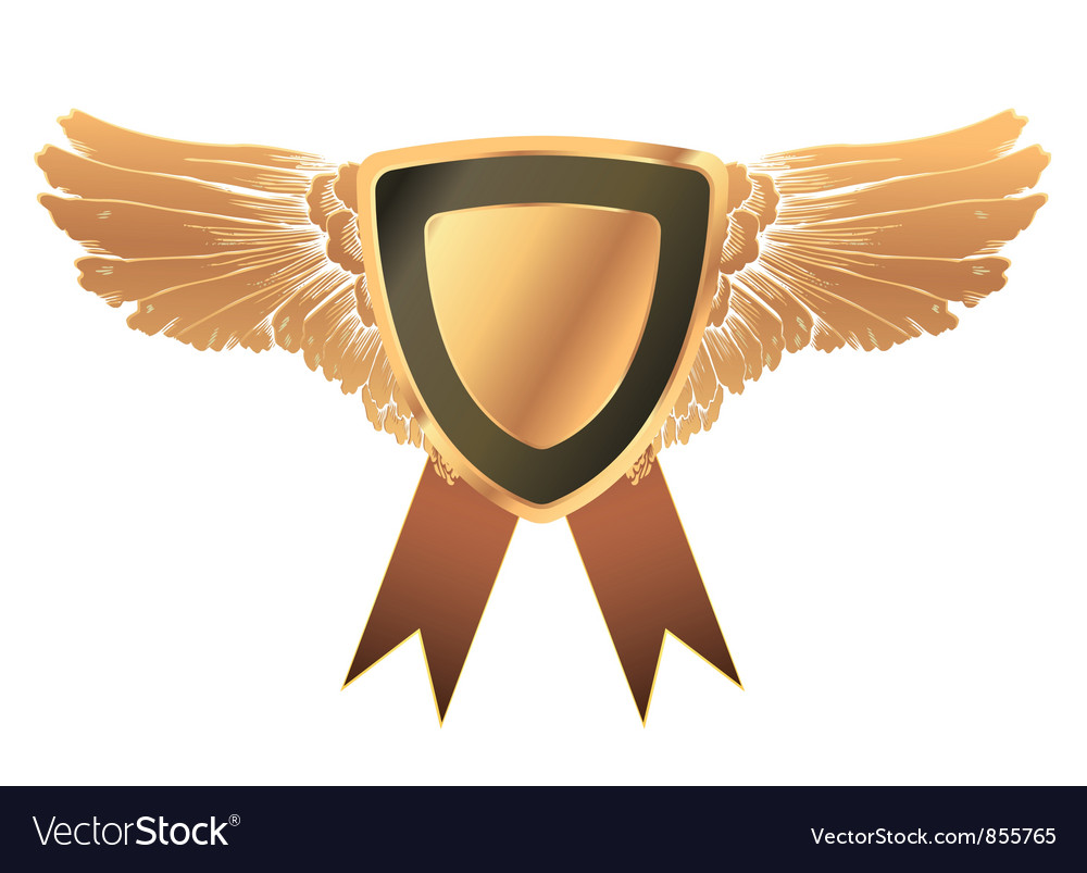 Gold medal with wings vector | Price: 1 Credit (USD $1)