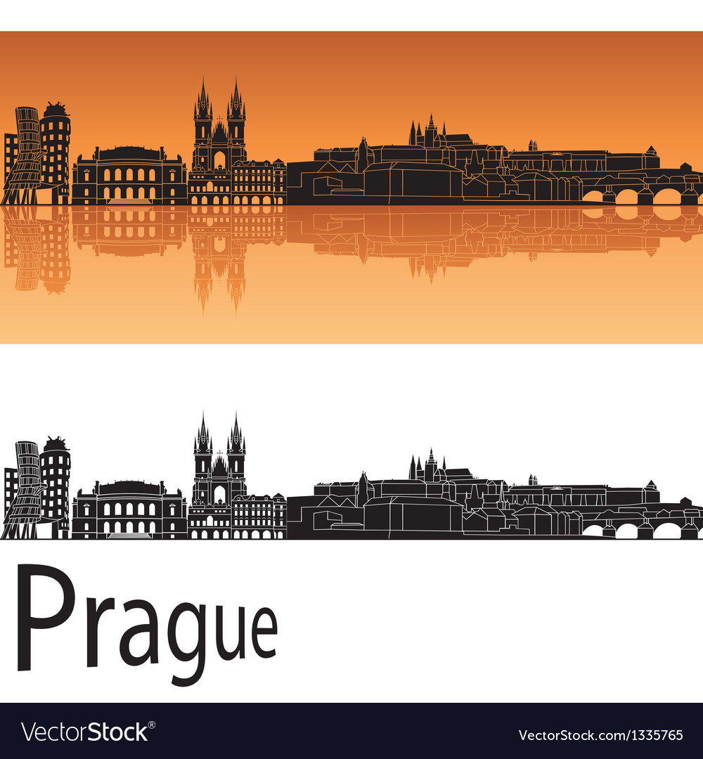 Prague skyline in orange background vector | Price: 1 Credit (USD $1)