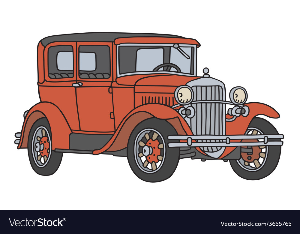 Red vintage car vector | Price: 1 Credit (USD $1)