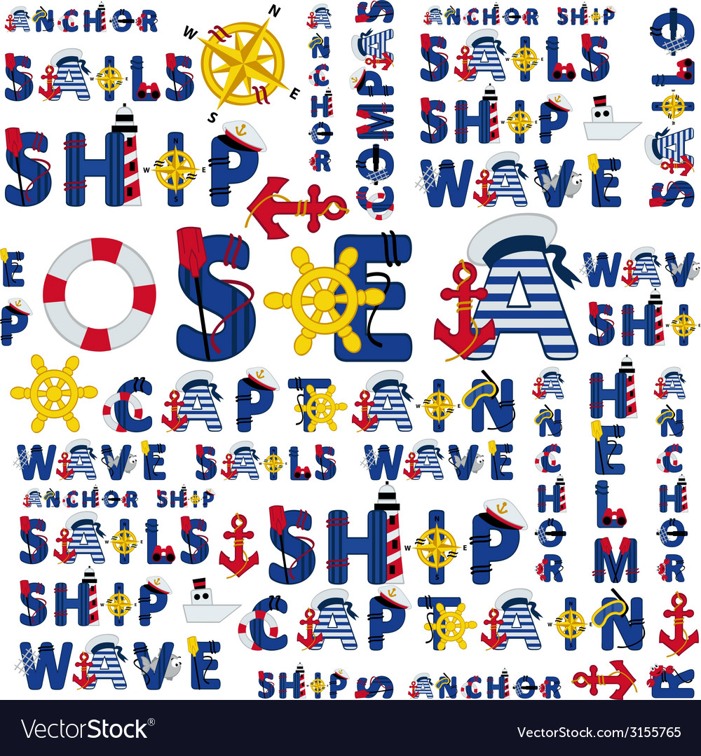 Seamless sea pattern of words vector | Price: 1 Credit (USD $1)