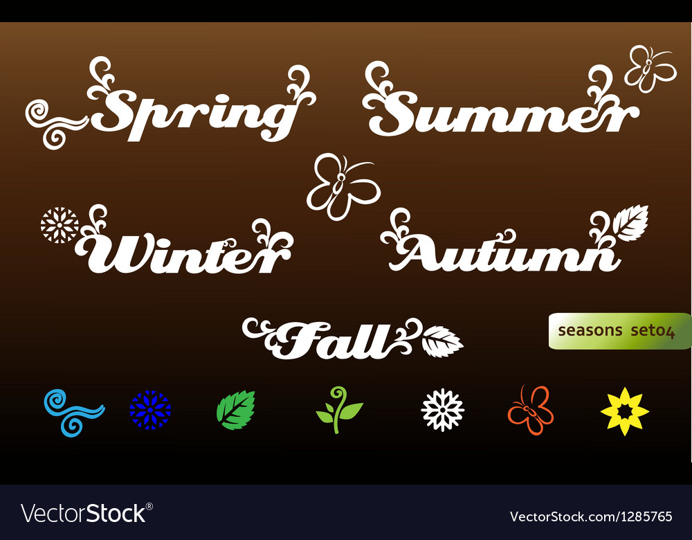 Seasons names and elements vector | Price: 1 Credit (USD $1)