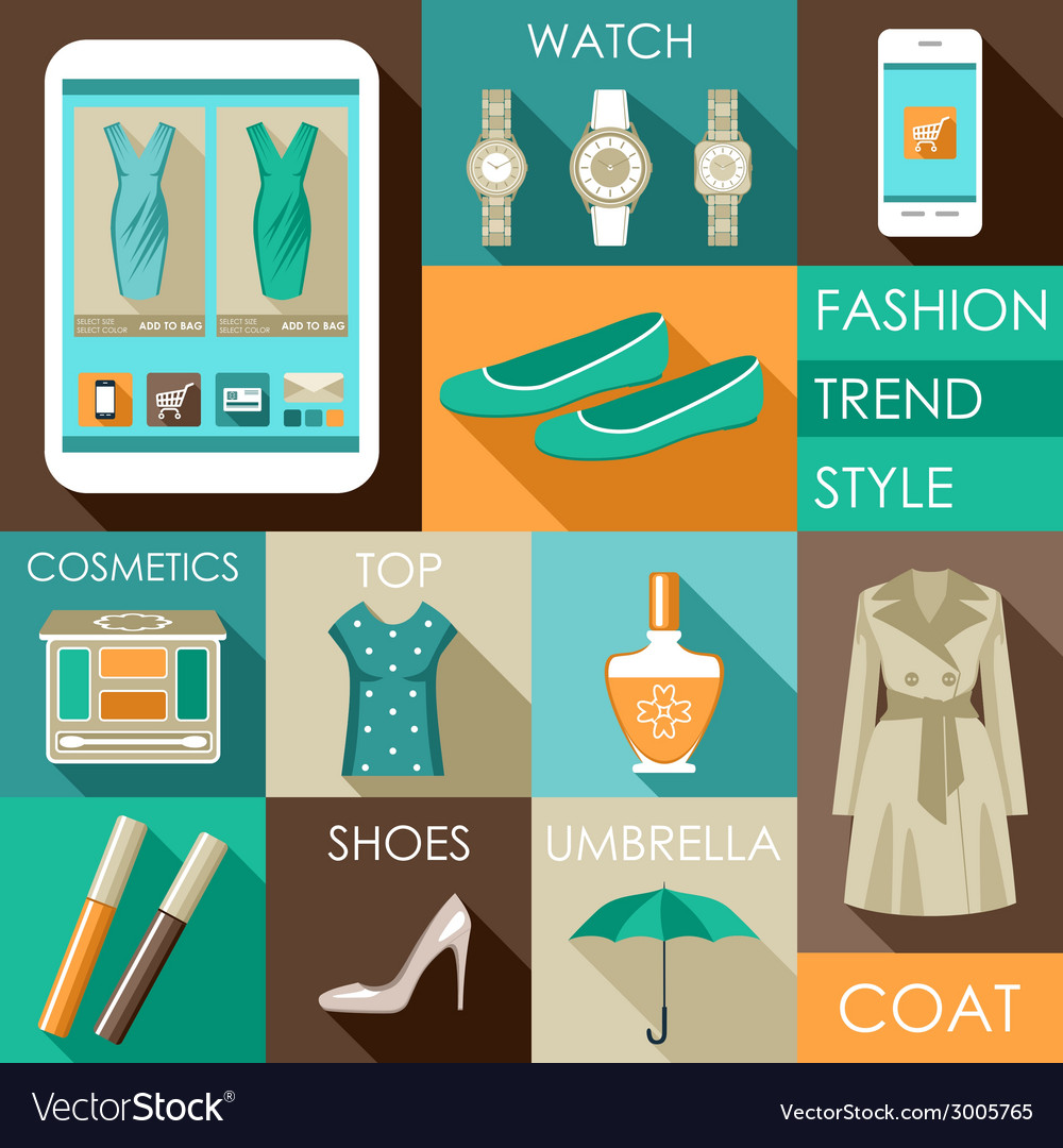 Set of flat design fashion icon for web and mobile vector | Price: 1 Credit (USD $1)