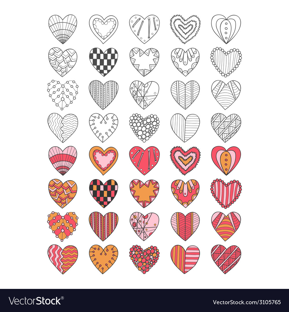 Set of hand drawn heart symbols vector | Price: 1 Credit (USD $1)