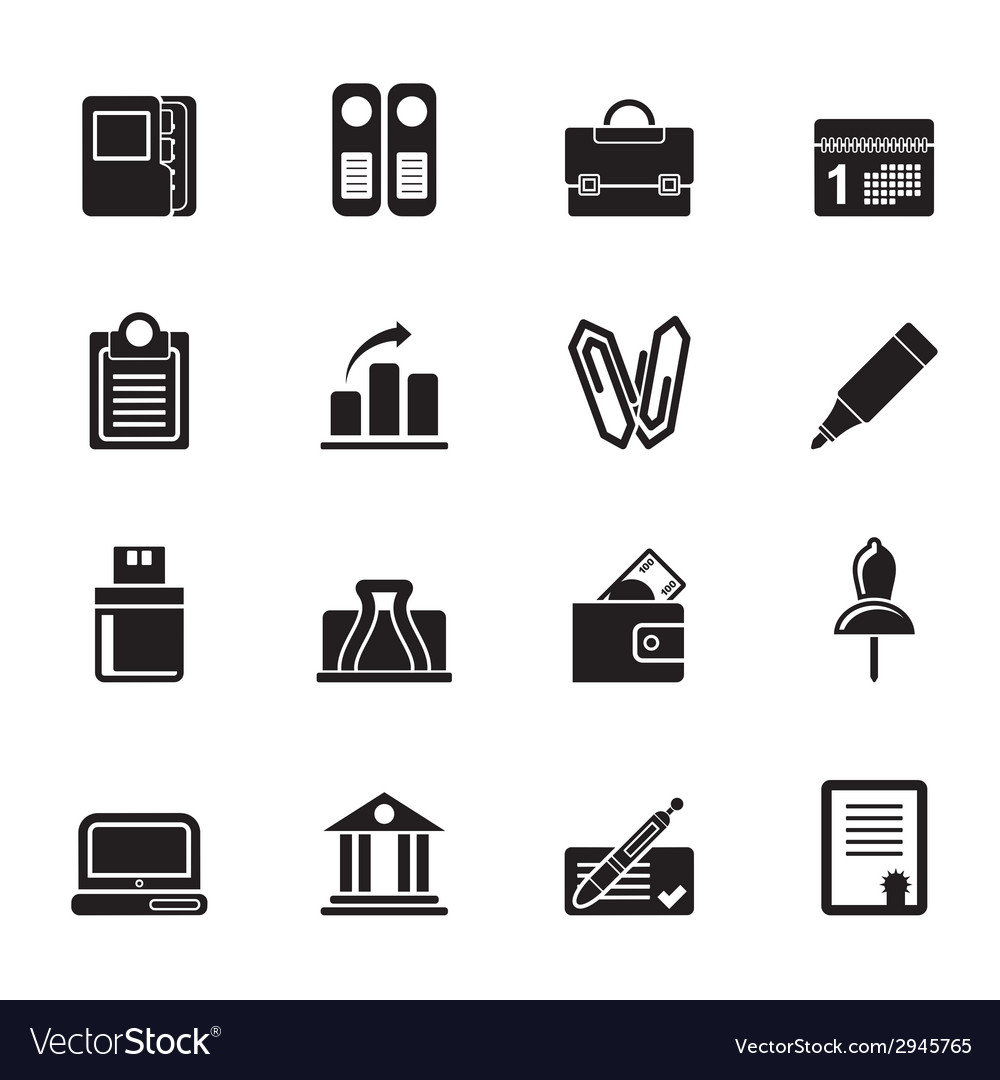 Silhouette business and finance icons vector | Price: 1 Credit (USD $1)